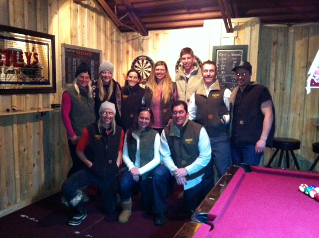At the champion's dinner for the FIS Surefoot Holiday Classic. Standing left to right, Anna Kobal, Katie Hartman, Macarena Simari-Birkner, Lisa Perricone, Ben Brown, David Lamb and Luke Laidlaw. Front kneeling, Hailey Duke, MR Hostetter, and Chris Puckett. Submitted by: Chris Puckett