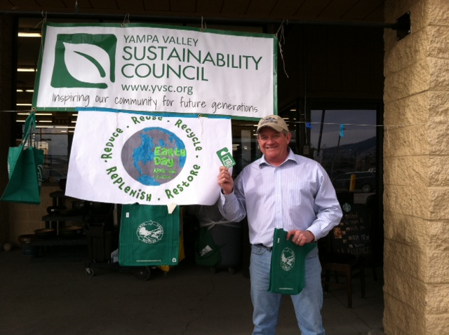 Routt County Commissioner Steve Ivancie supporting Yampa Valley Sustainability Council/Recycles' local Earth Day event. Submitted by: Catherine Carson