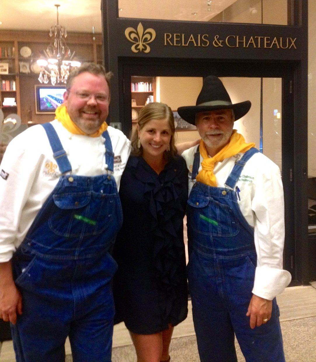 From left, chef de cuisine Craig Singer, marketing coordinator Laura Fisher and executive chef Clyde Nelson pose while at the Relais & Châteaux office for a press dinner in New York City.