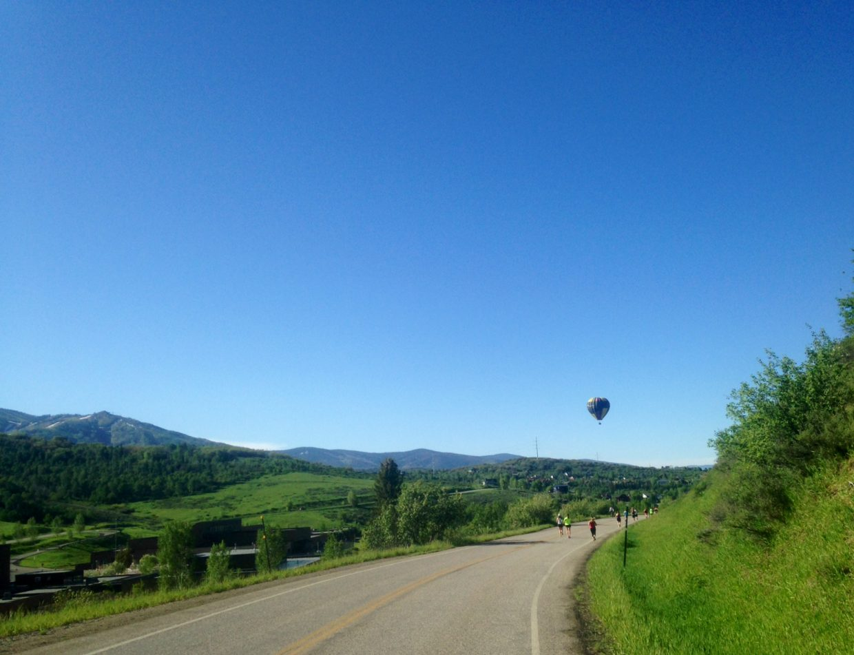 The Steamboat Marathon 10K plus a hot air balloon. Submitted by: Beth Summerfield