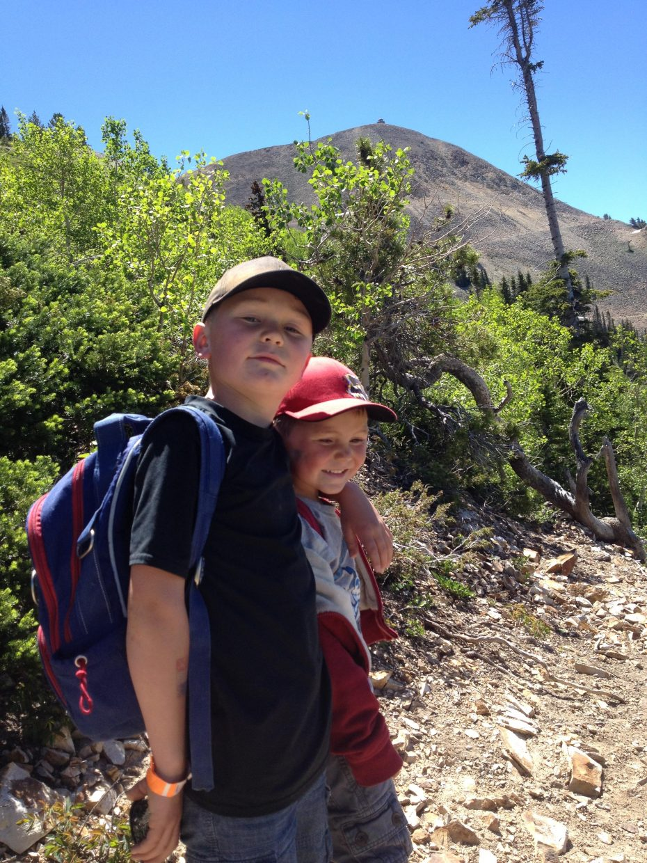 Jackson Bathke and his brother Blair on their way to the top of Hahn's Peak. The boys and their grandfather, Hud Labaree, hiked to the top of the peak Monday. Submitted by: Hudson Labaree