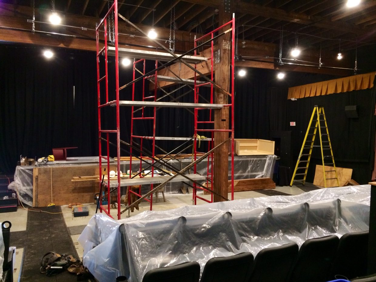 Another view of the Chief Theater's post removal progress.