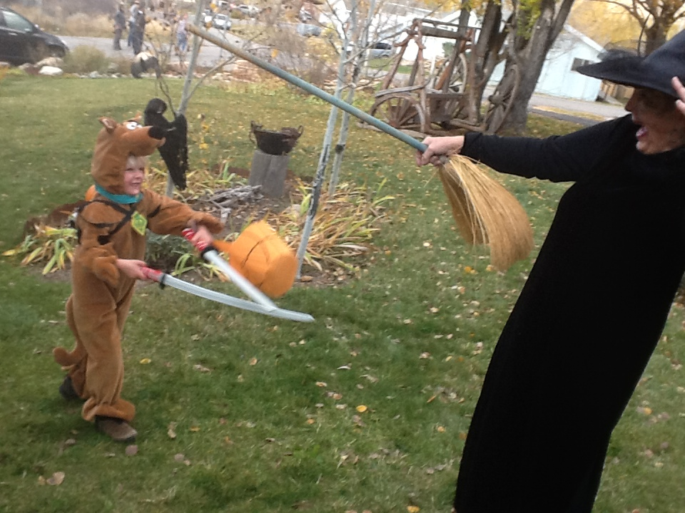 Noreen jousting with well armed bear. Submitted by: Irene Nelson