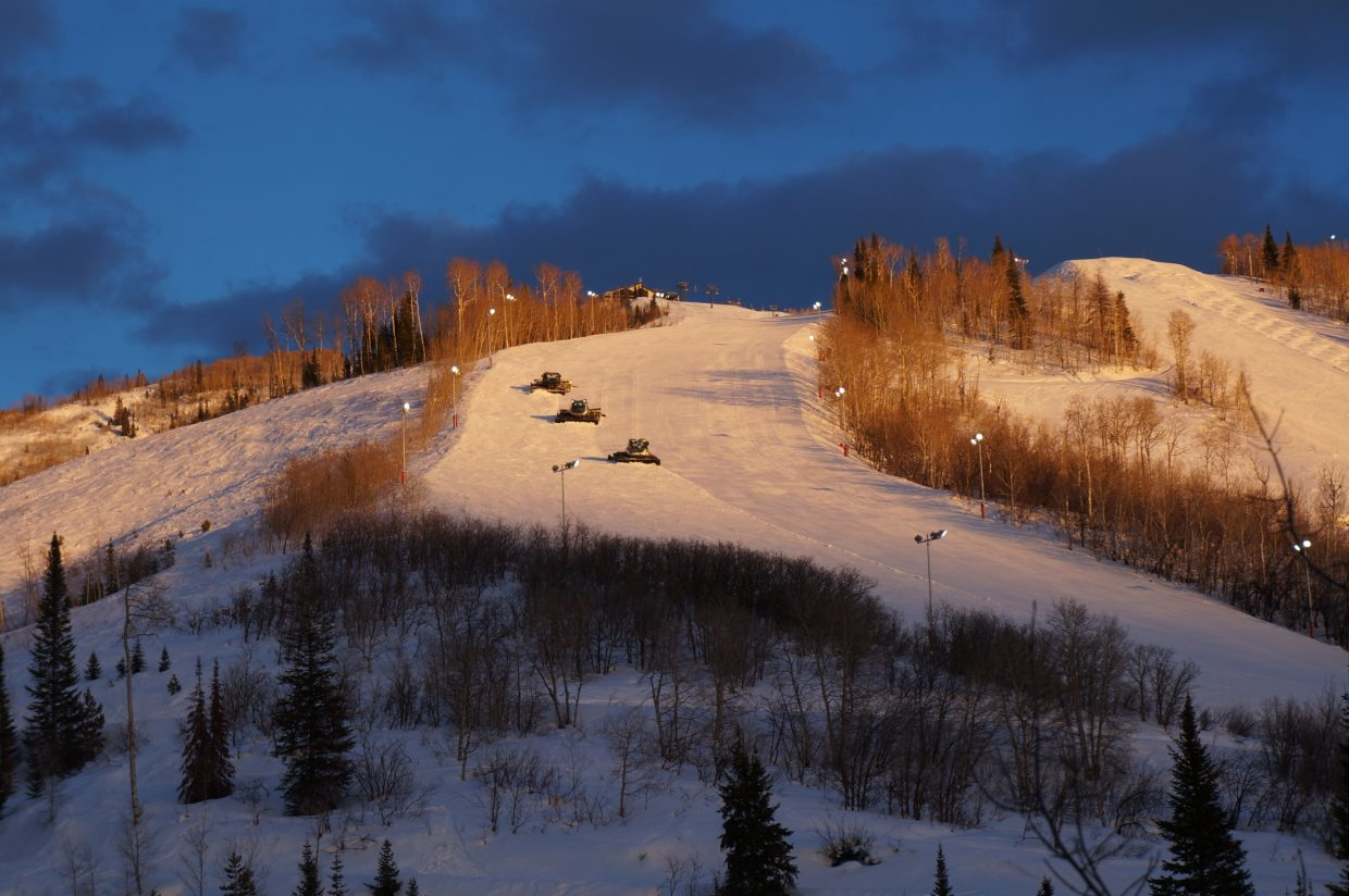 Grooming for night skiing. Submitted by: Cindy Fuster