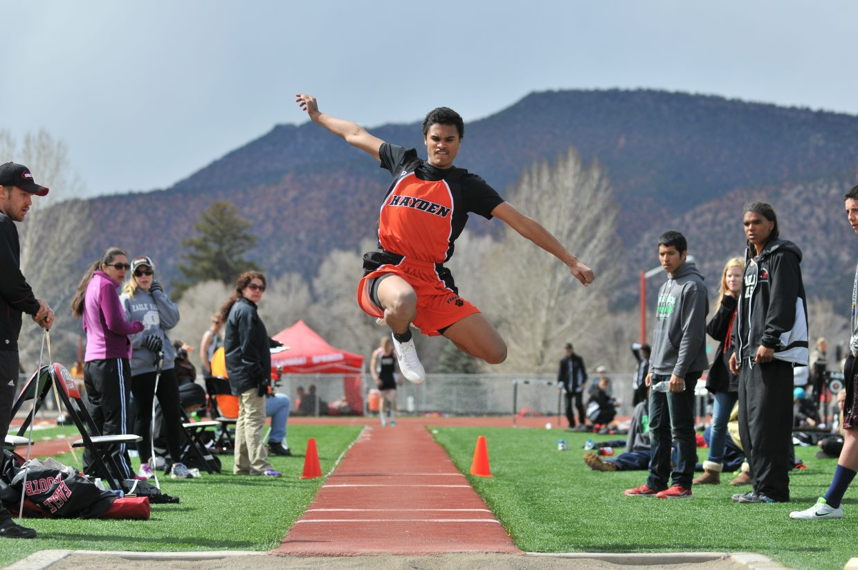 "Junior Jack Redmond long jumps 20'1"" at the Eagle Valley track meet April 5. Submitted by: Julie Carey"