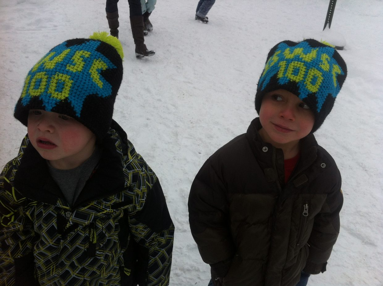 Mateo Rodriguez and Griffen Harvey, U6, celebrating 100 years of the Steamboat Springs Winter Sports Club. Submitted by: Kelley Rodriguez