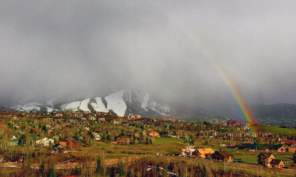 Steamboat ski area framed by rainbow after the passing of a lasting storm. Submitted by Madison Slater.