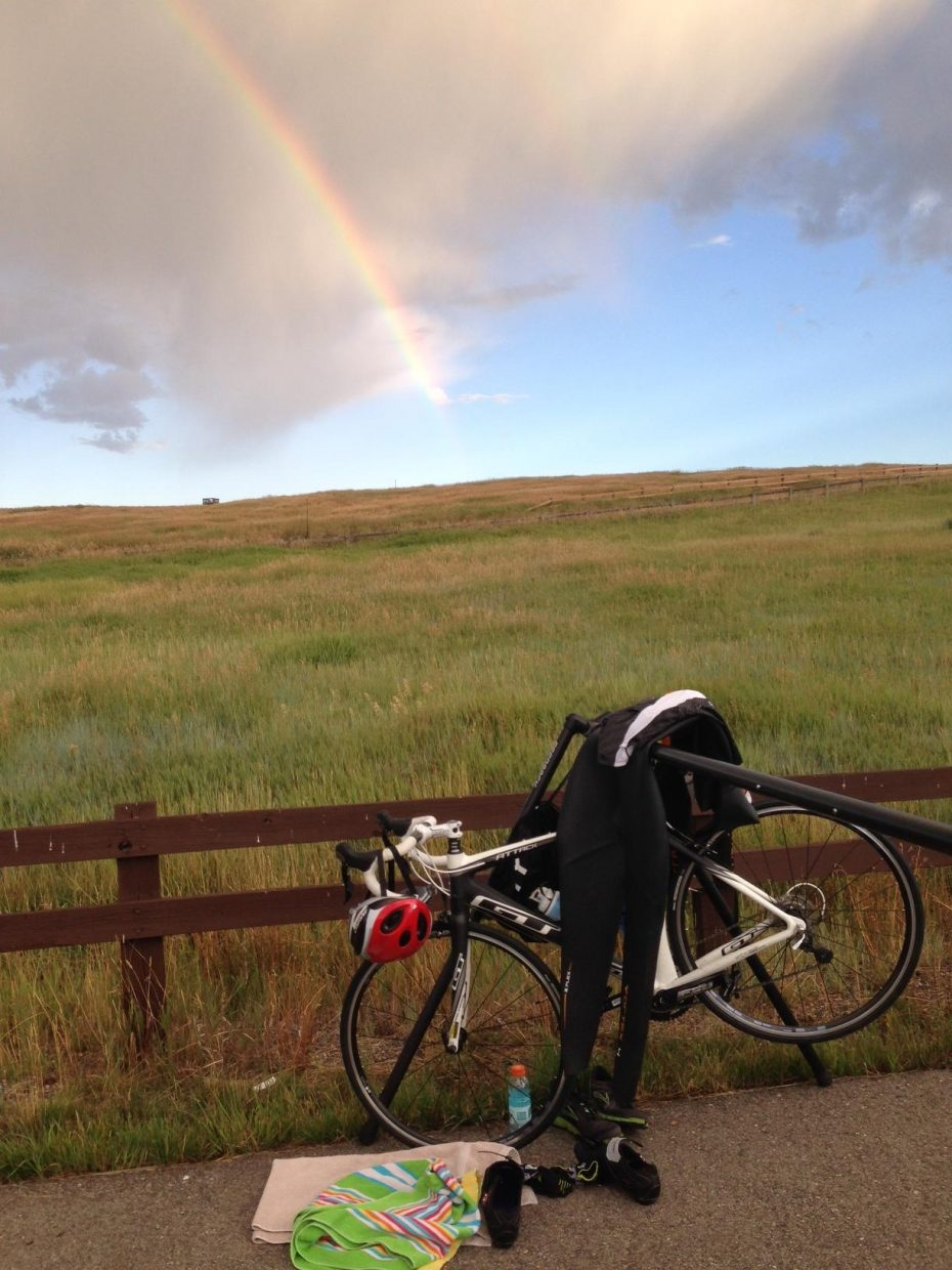 Despite the tacks controversy, the annual triathlon was, again, beautiful! With a special rainbow appearance before the start. Submitted by David Haupt.