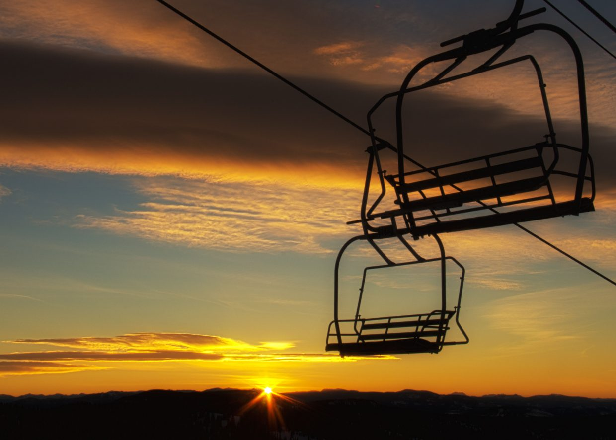The sunrise at the top of Morning Side chair lift at Steamboat Ski Area. Settings: f29, 1/20, ISO100, 32mm: f29, 1/50, ISO100, 32mm.