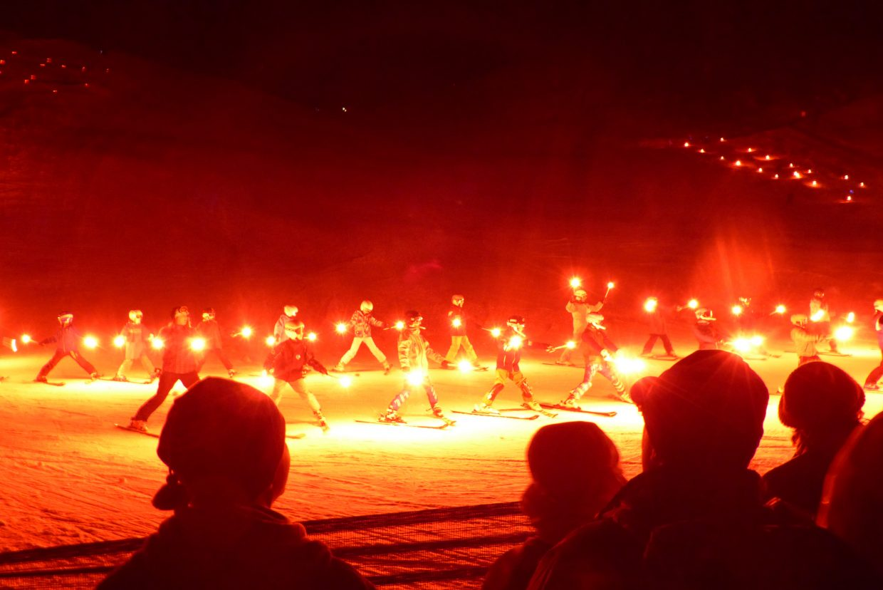Some of the torchlight skiers during the 2017 Winter Carnival's Night Extravaganza.
