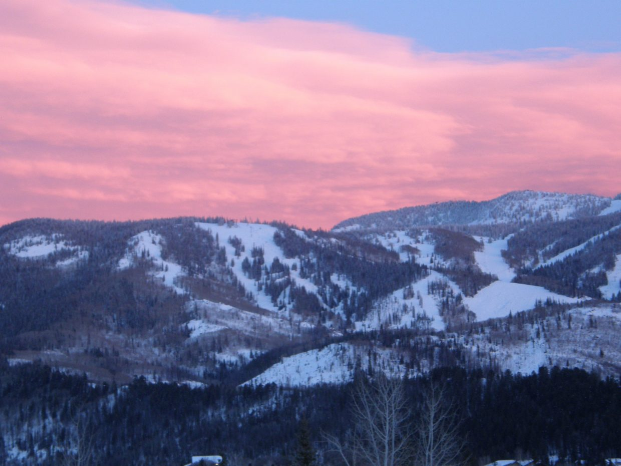 Last night's sunset on the edge of the east edge of Mt. Werner. Submitted by Roxanne Pranger.