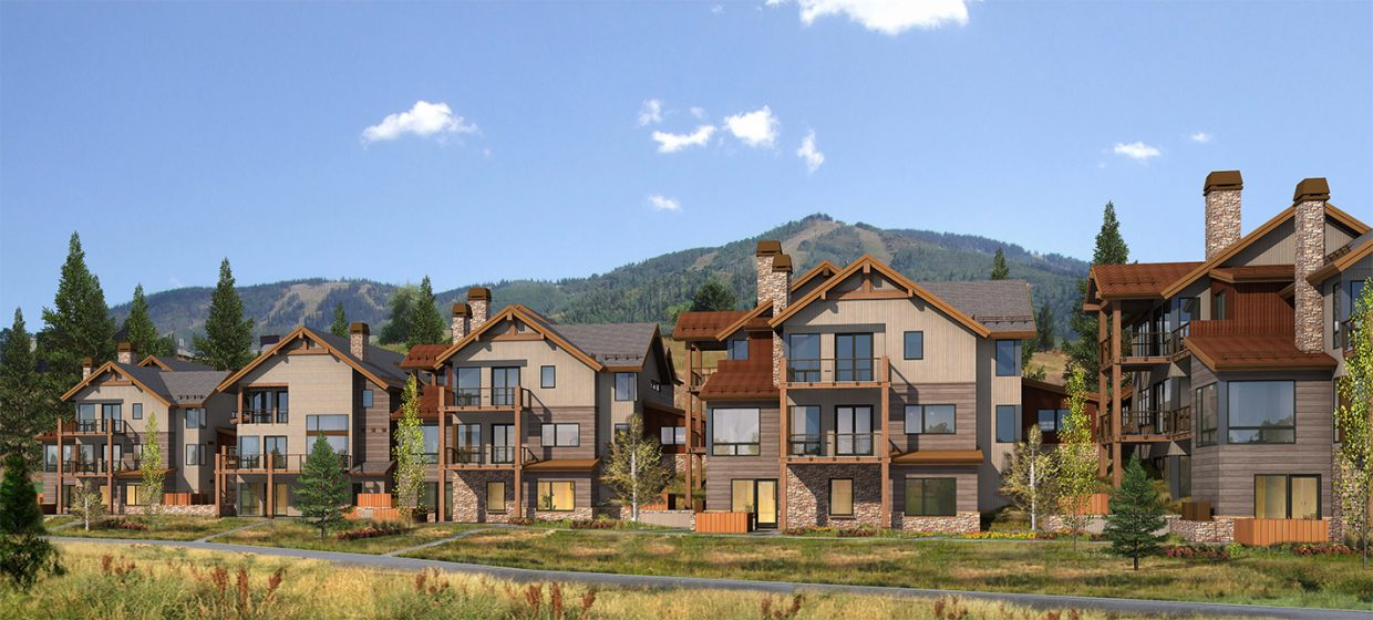 A rendering shows what the Wildhorse Homesteads will look like upon completion, scheduled for 2016. Construction broke ground in August for two of the six buildings, which will house 17 separate residences.