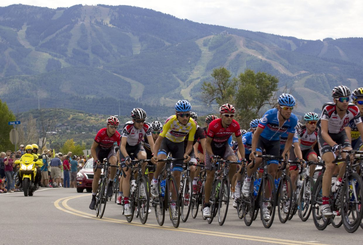Riders cut through Steamboat Springs during the 2013 USA Pro Challenge.
