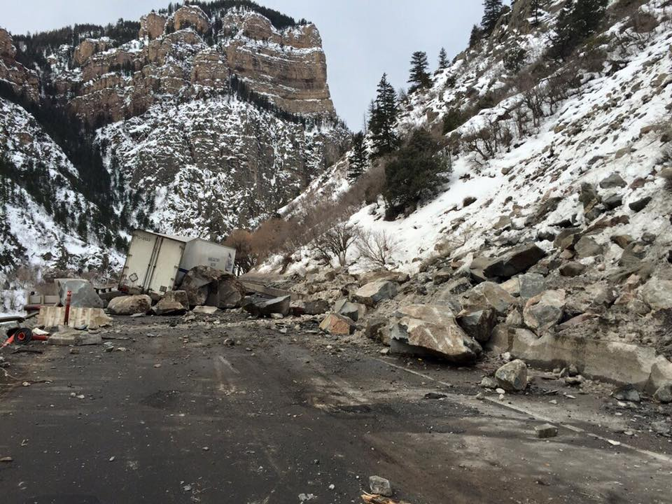 Two large rockslides Monday have resulted in the closure of Interstate 70 in Glenwood Canyon just west of Hanging Lake Tunnel. It is expected the highway will remain closed throughout the day. The alternate route for westbound motorists is bringing traffic through Steamboat Springs and Craig.