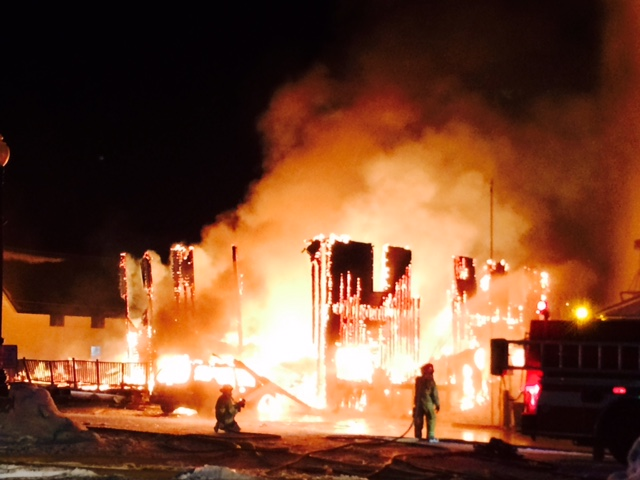 The Royal Hotel in Yampa was totally engulfed in flames when firefighters arrived on scene around 11 p.m. Saturday.