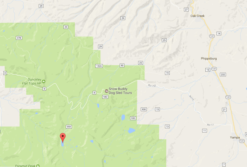 Sheriff's Reservoir is in the Flat Tops Wilderness Area about 18 miles west of Yampa.