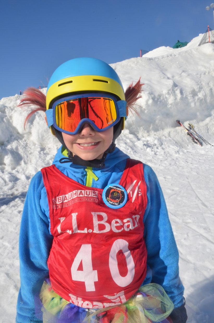 Ava Rose, 10, of Steamboat Springs proves that girls know how to have fun at the same time they compete intensely in an adventurous sport like ski jumping.