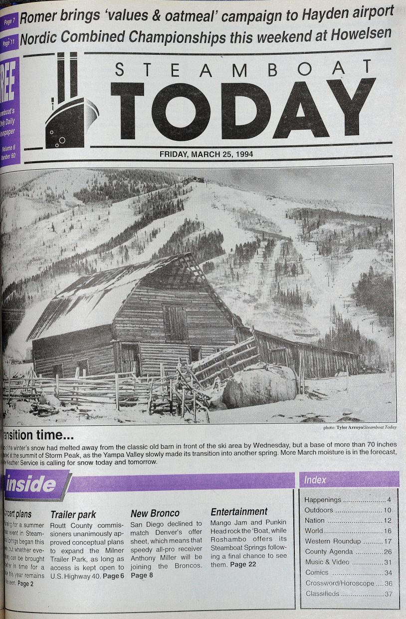 Former Steamboat Springs photographer Tyler Arroyo caught the More Barn in all its glory in this photograph that appeared on the front page of the March 25, 1994, Steamboat Today newspaper.