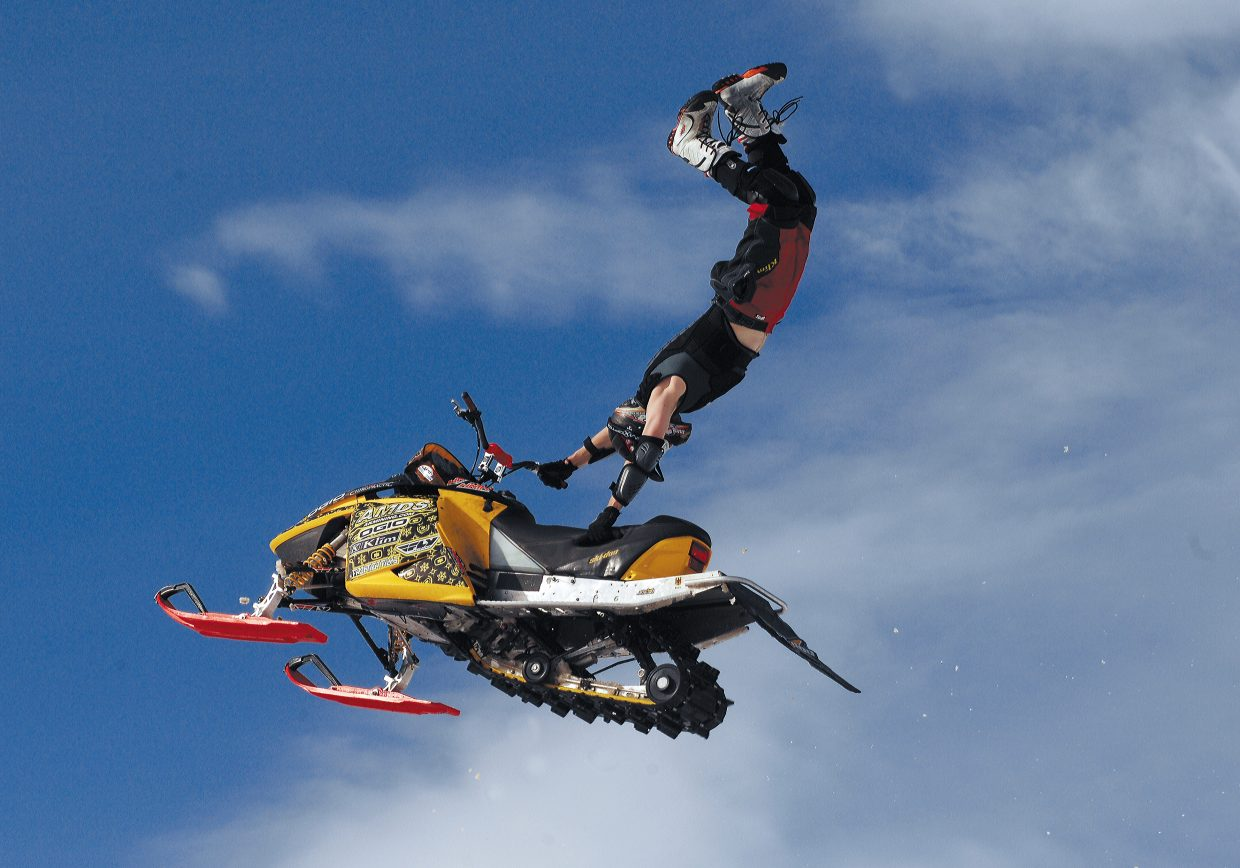 Kyle Armbrust practices high-flying stunts at Chris Brown's ranch just west of Steamboat Springs. The photograph was taken by John F. Russell and appeared in the March 10, 2007, edition of the Steamboat Today.