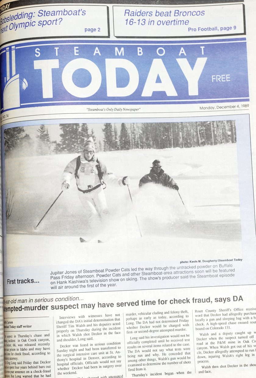Jupiter Jones can be seen enjoying the powder on Buffalo Pass. This photo was taken by Kevin M. Dougherty and appeared in the Dec. 4, 1984, edition of the Steamboat Today.
