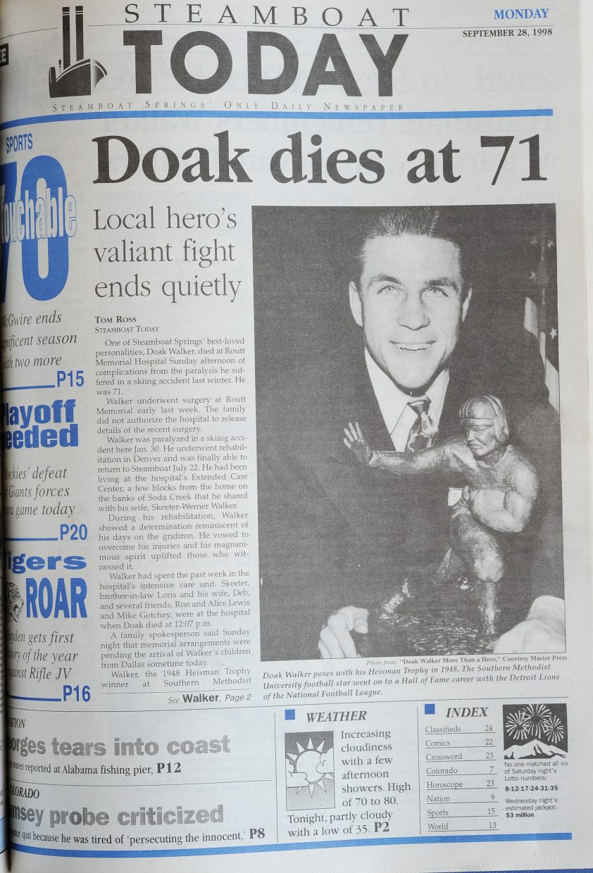 Images of Steamboat Springs legend Doak Walker filled the front page of the Steamboat Today on Sept. 28, 1998, as the community said farewell to the football legend who had made Steamboat Springs his home.