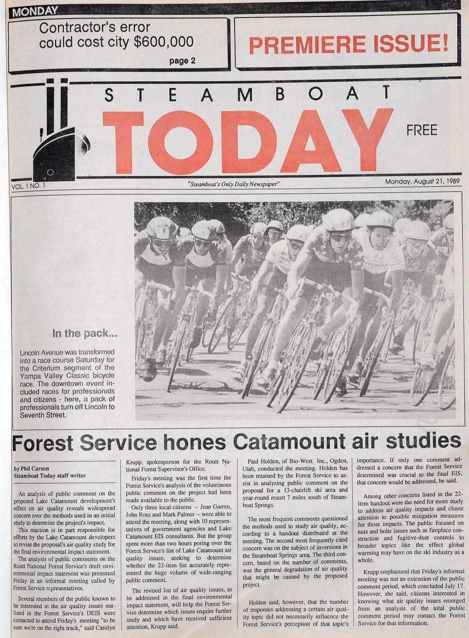 The first copy of the Steamboat Today newspaper rolled off the press Aug. 21, 1989, and featured a photograph of bikes racing through Steamboat Springs by former photographer Kevin Dougherty and a story by Phil Carson about the Forest Service honing Catamount air studies.