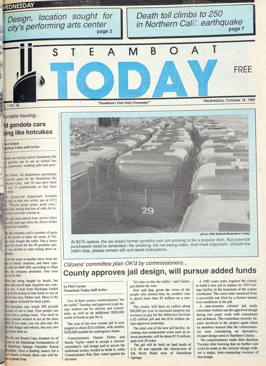 Gondola cars were selling like hotcakes in October 1989 and this photograph by former staff member Rob Selleck graced the front page.