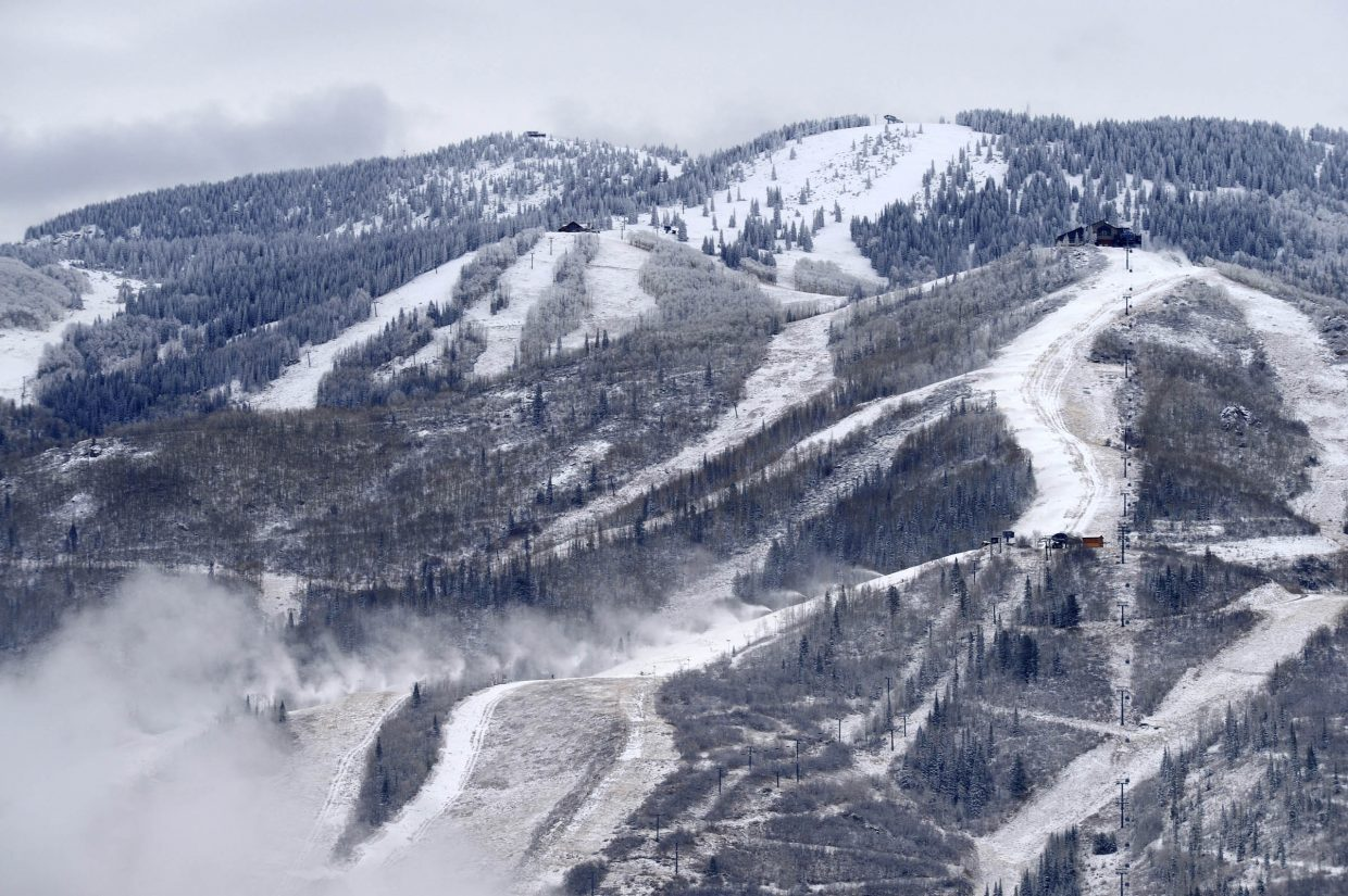 Preparations are well underway at Steamboat Ski Area, where they were making snow Tuesday.