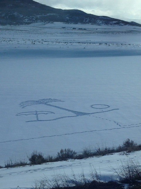 Snow art on Stagecoach Reservoir on Saturday. Beach ball, palm tree and umbrella. Getting excited for spring break! Submitted by: Paul Barry