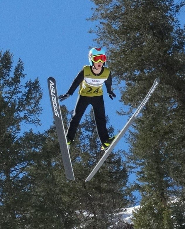 Local athlete Bennett Gamber on his way to a 69 meter jump in the Nordic combined and Jumping Junior National Championships at Howelsen Hill on the final day. Submitted by Suzi Mitchell.