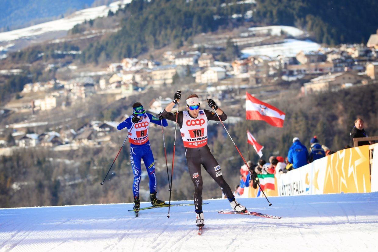 Taylor Fletcher, front, races in the Nordic combined team sprint at the 2013 World Ski Championships.