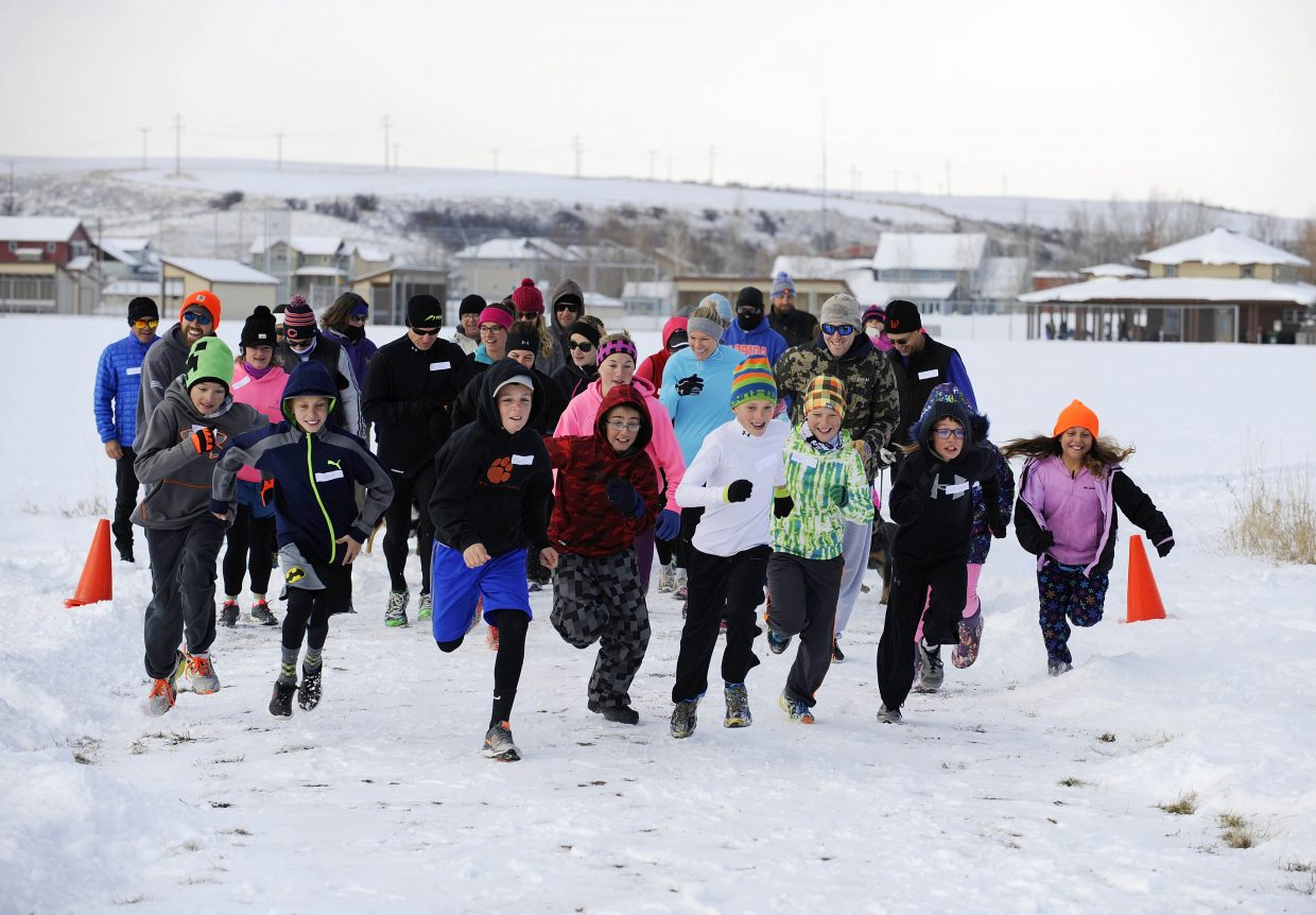 Runners leave the starting line during the Turkey Trot 5K and 1-mile fun run in Hayden in November. Proceeds from the event went to the Hayden Valley Elementary Health & Wellness Team. The team is planning a health fair at the school this Thursday.