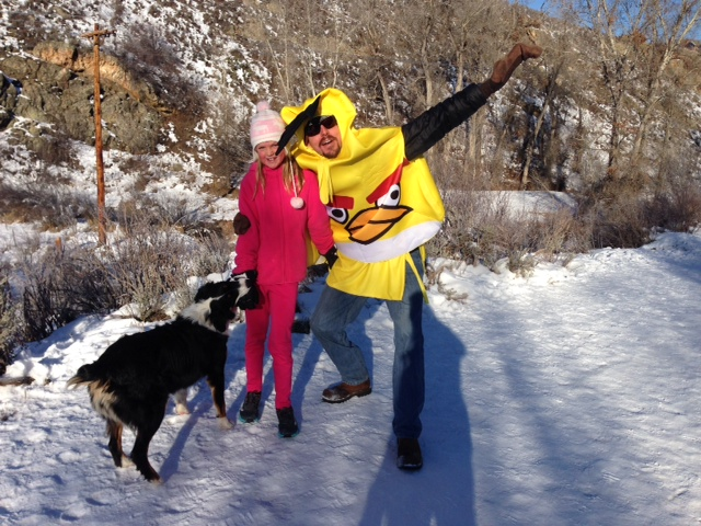 Caroline McLaughlin, her dog Sophie and her dad, Don McLaughlin, ran in the Turkey Trot at Soda Creek Elementary on Tuesday morning. Submitted by: Lauren McLaughlin