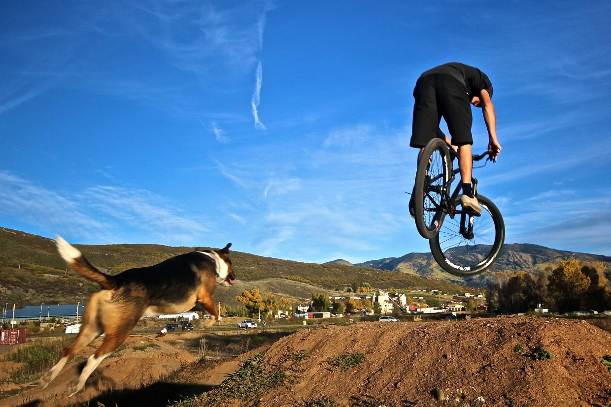 Indian Summer Evening at The Bear River Bike Park. Cramming in those last minute dirt jump laps. Submitted by Eric Schankerman.