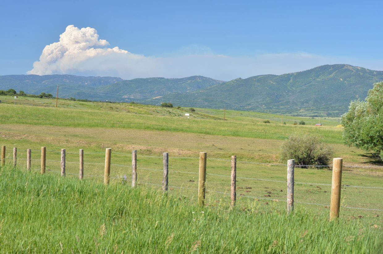The Beaver Creek Fire outside of Walden as seen from HWY 14, Steamboat Springs, Colorado, Monday, June 27th, 2016. Submitted by Jacquelyne Cox.