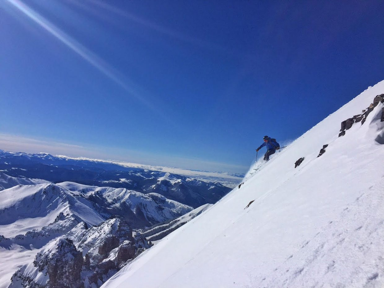 """Aauthor, speaker, geographer and mountaineer Jon Kedrowski, will be in Steamboat Springs on Monday to talk about his new book, """"20 Peaks in 30 Days: Skiing & Sleeping on the Summits of the Cascade Volcanoes"""" at 7 p.m. in Library Hall. In this photo, he is skiing off the top of Castle Peak 14,265."""
