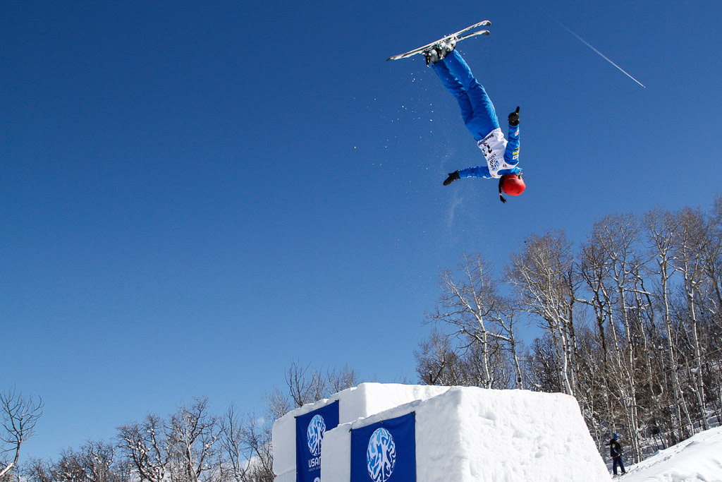 Tyra Izor launches from the double jump at the US Freestyle Championships