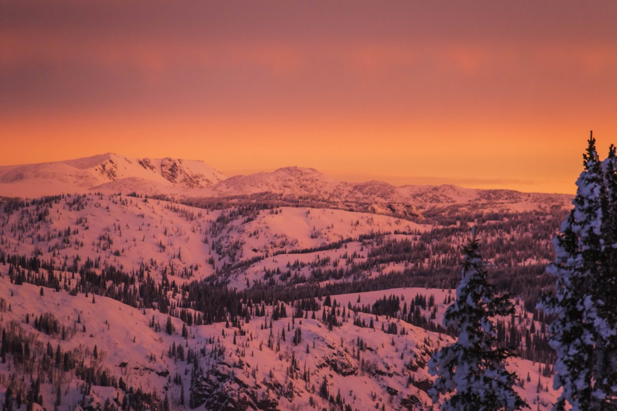 Sunrise this morning from the top of Storm Peak. Submitted by Brendan Durrum.