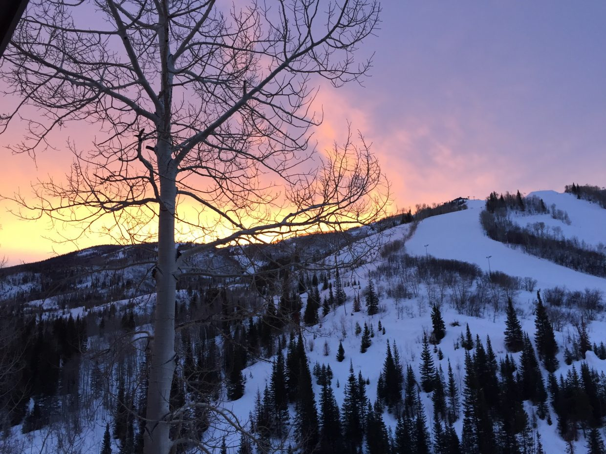 Sunrise over Mt Werner Sumbitted by Sheila Phillips.