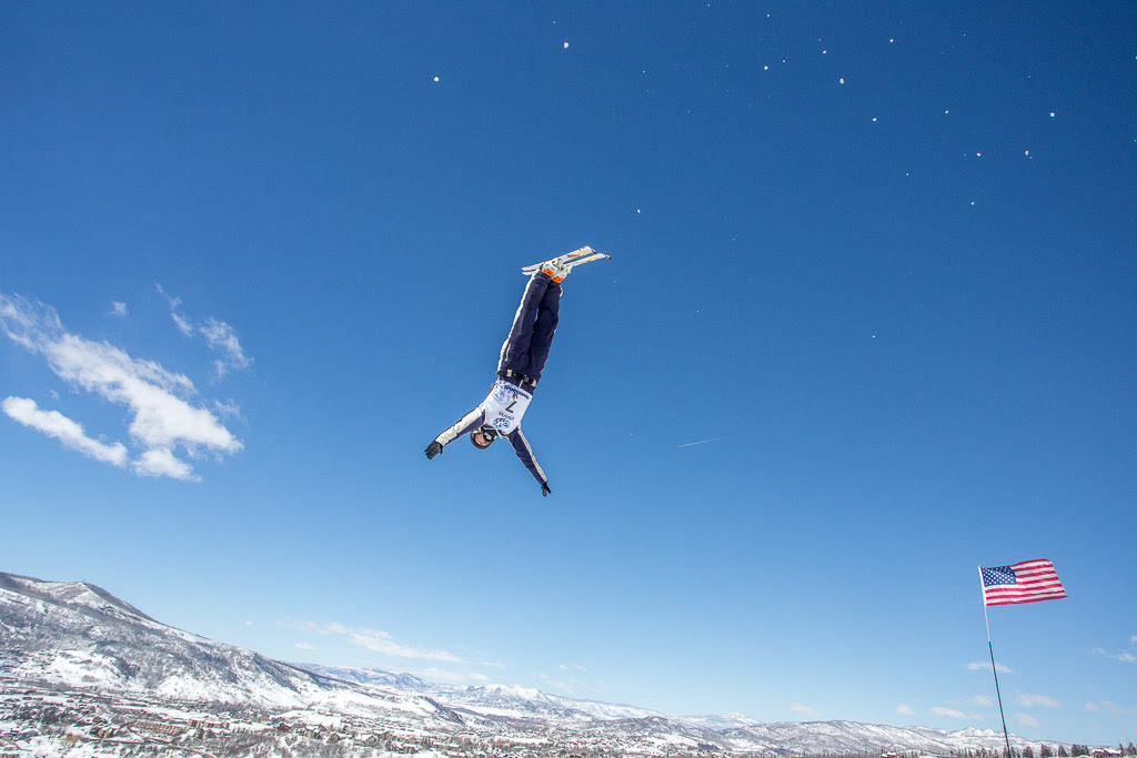 Third place finisher Megan Nick flies over Steamboat at the US Freestyle Championships