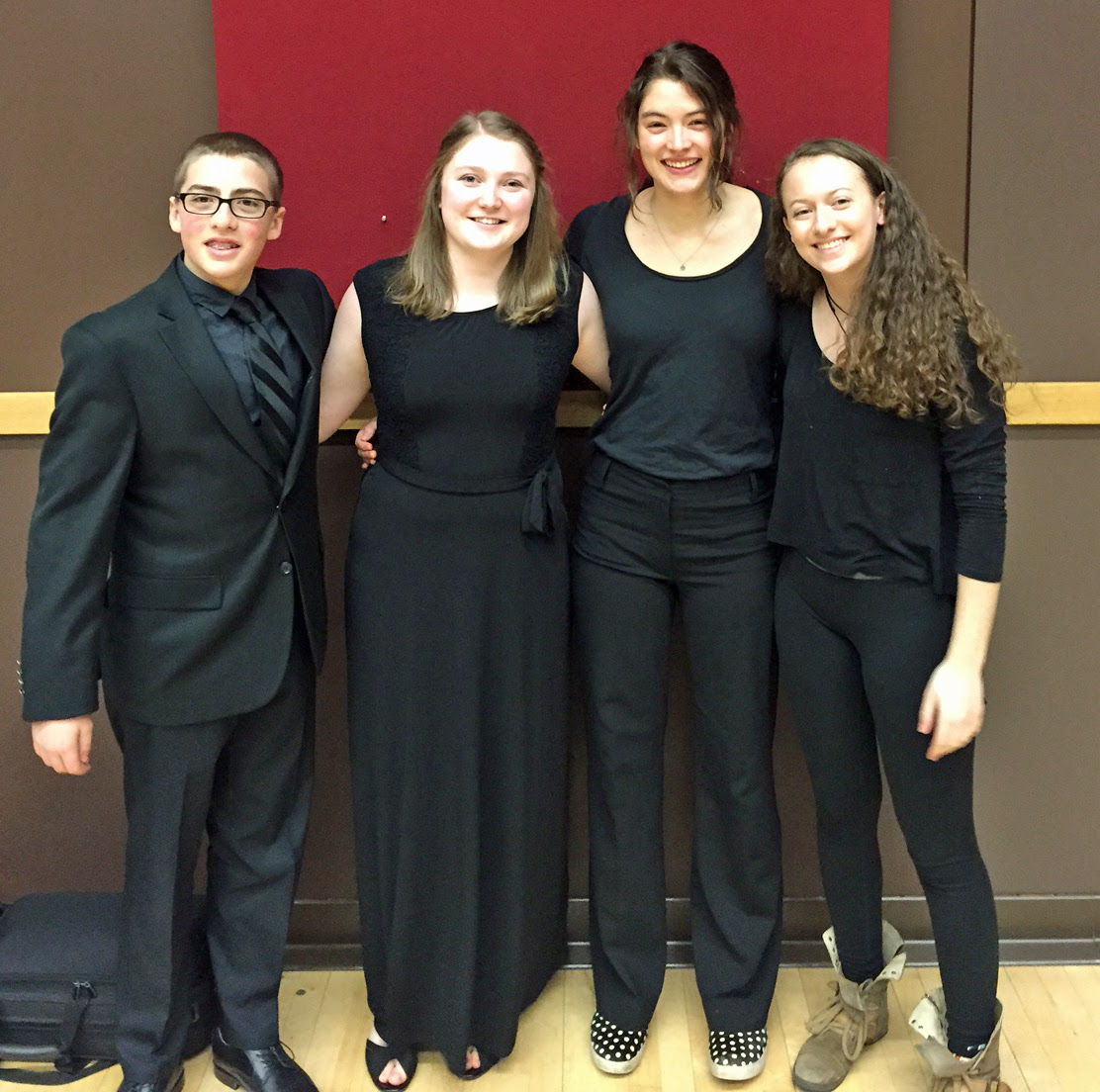 Four musicians from SSHS were chosen for the 2016 Colorado All State Orchestra. They performed challenging repertoire at the concert Saturday night at CSU in Fort Collins led by Maestro Thomas Wilson of the Colorado Springs Philharmonic. They are (from left to right): Jacob VanDerWerf (violin), Melissa Requist (flute/piccolo), Lark Skov (viola), Jenna Kramer (violin). Submitted by James Knapp.