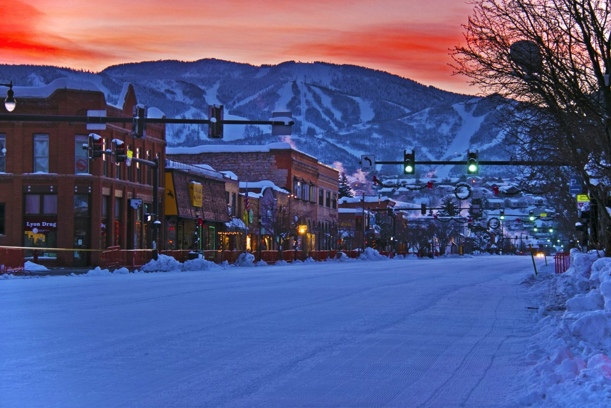 Downtown Steamboat early Saturday morning before the street events for the Winter Carnival. Sumbitted by Brendan Durrum.