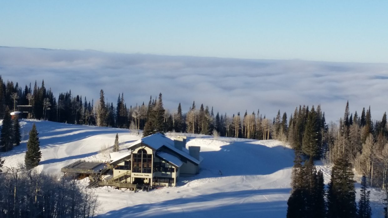 Rendezvous Lodge sitting a top the clouds Wednesday morning. Submitted by: Robert Woodland.