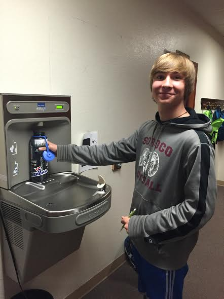 A South Routt student fills up his water bottle at a filling station, installed as part of the health and wellness efforts in the district.