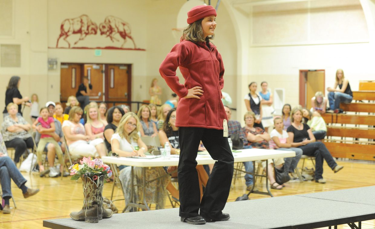 Katie Olinger models her creation at the Routt County 4-H Fashion Revue Friday evening at Soroco High School. The Fashion revue was part of the annual Routt County Exhibit Day and Fashion Revue, were young members are judged and have a chance to show off the projects they have been working on this year.