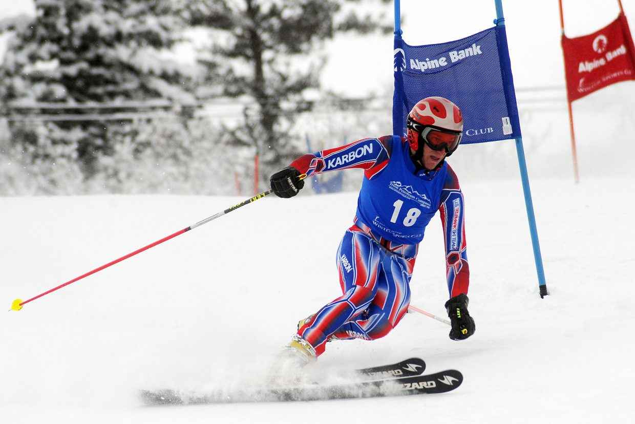 Drew Hauser skis Friday in a Telemark race in Steamboat Springs.