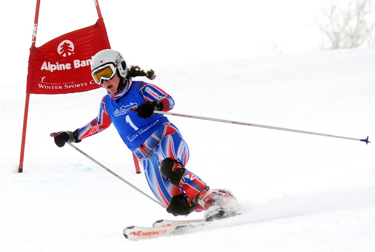 Steamboat's Erika Walters flies down Howelsen Hill on Friday on her way to winning the sprint classic Telemark event in Steamboat Springs.