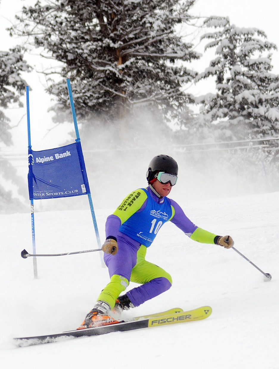 Tommy Gogolen skis Friday in a sprint classic Telemark event in Steamboat Springs.