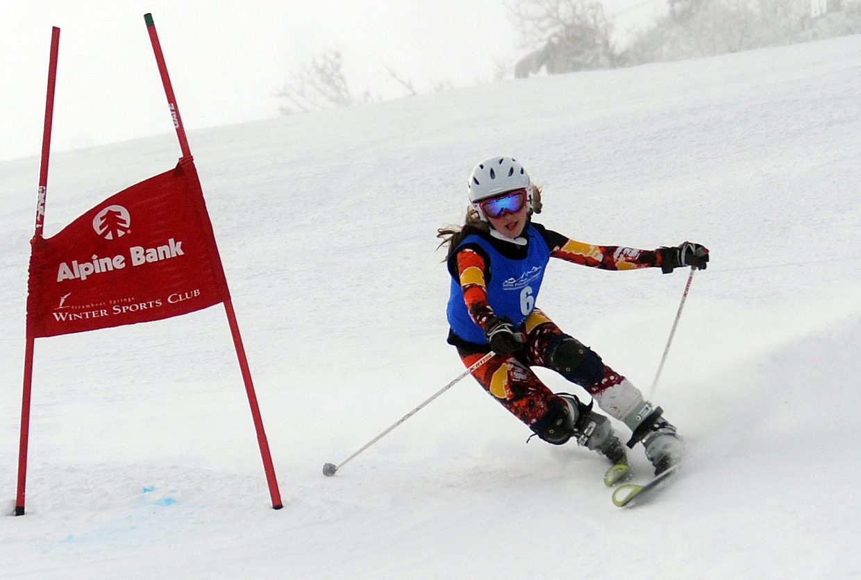 Lyta Foulk skis Friday in a sprint classic Telemark event in Steamboat Springs.