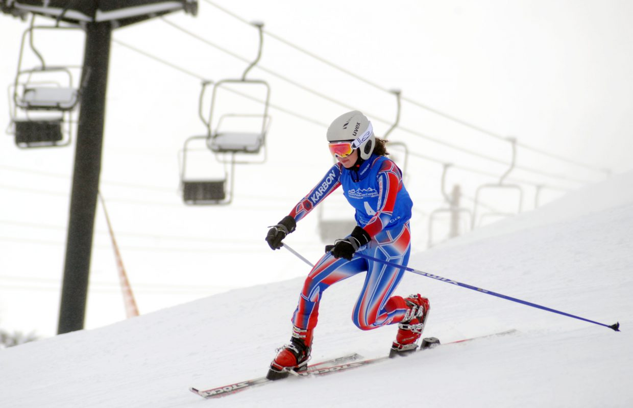 Zoe Taylor skis Friday in a Telemark race in Steamboat Springs.